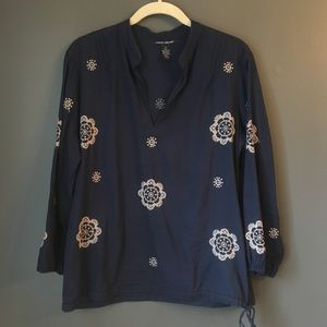 Lucky Brand Lightweight Embroidered Blouse Floral